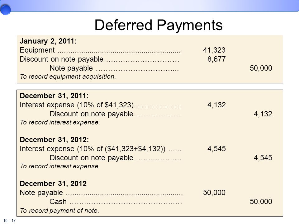 Deferred Payments January 2, 2011: