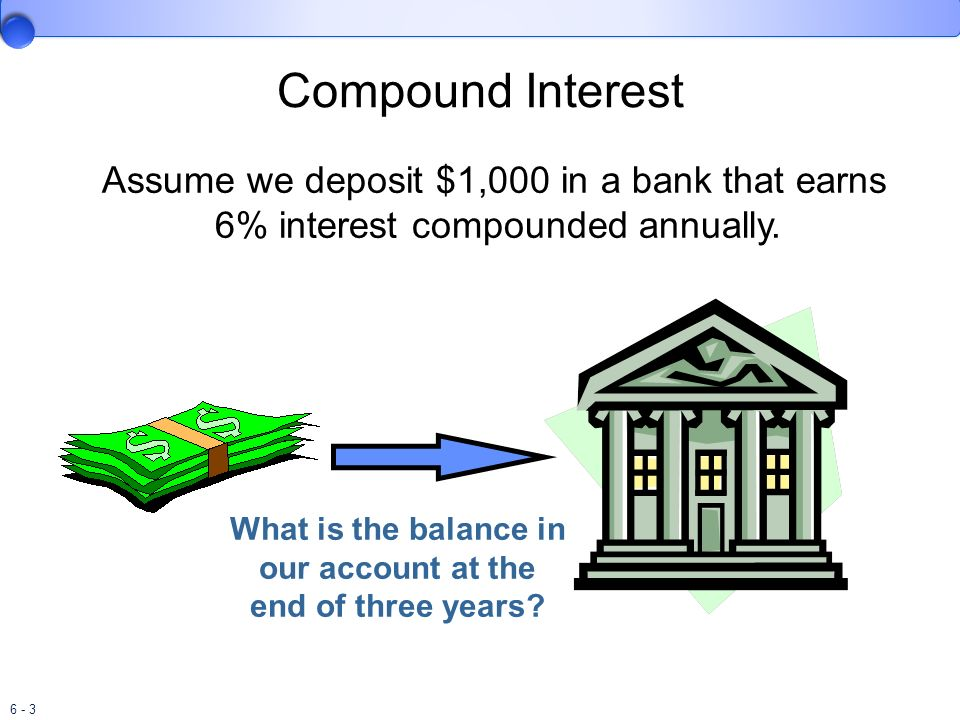 Compound Interest Assume we deposit $1,000 in a bank that earns 6% interest compounded annually.