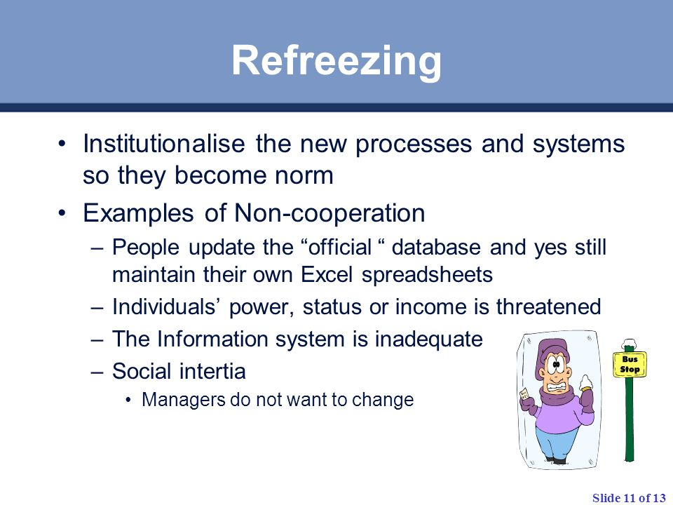 Refreezing Institutionalise the new processes and systems so they become norm. Examples of Non-cooperation.