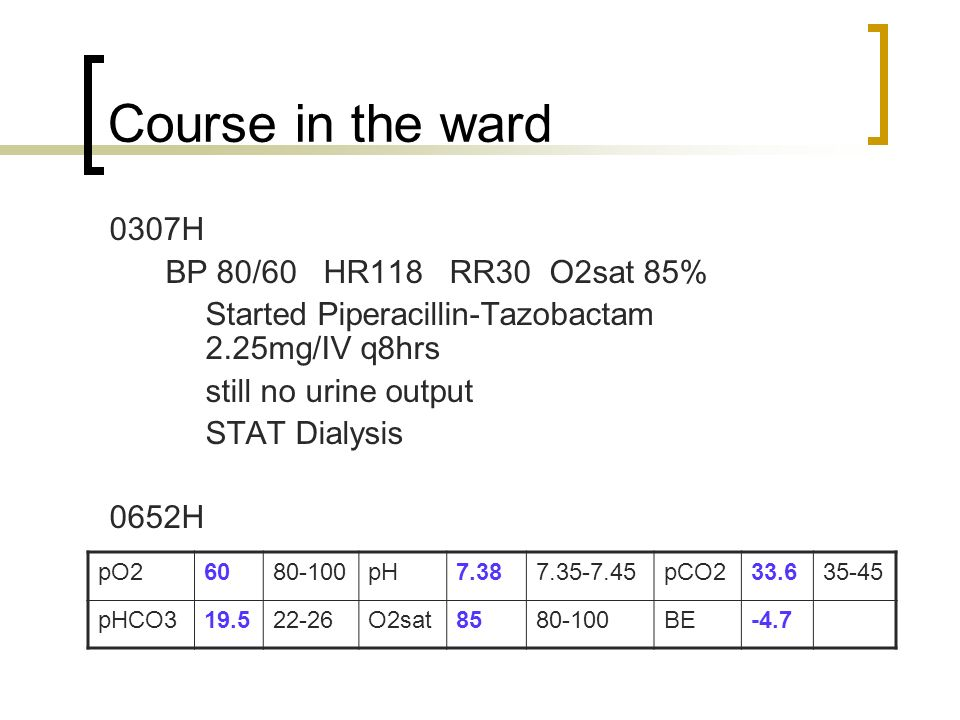 Course in the ward 0307H BP 80/60 HR118 RR30 O2sat 85%