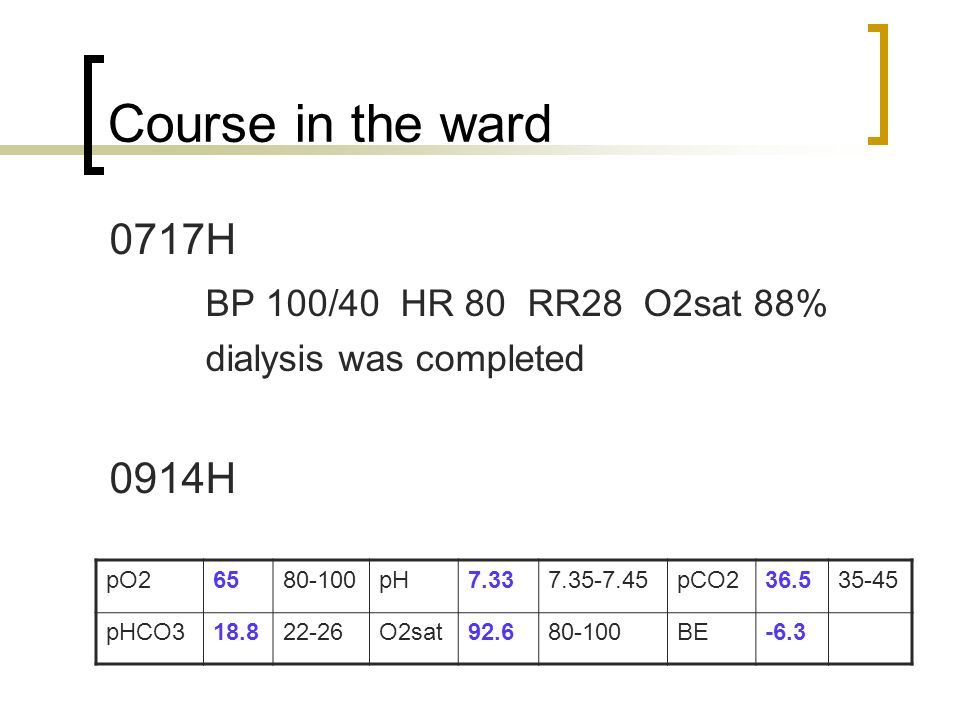 Course in the ward 0717H BP 100/40 HR 80 RR28 O2sat 88% 0914H