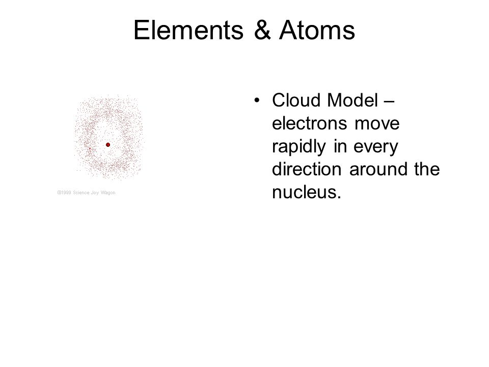 Elements & Atoms Cloud Model – electrons move rapidly in every direction around the nucleus.