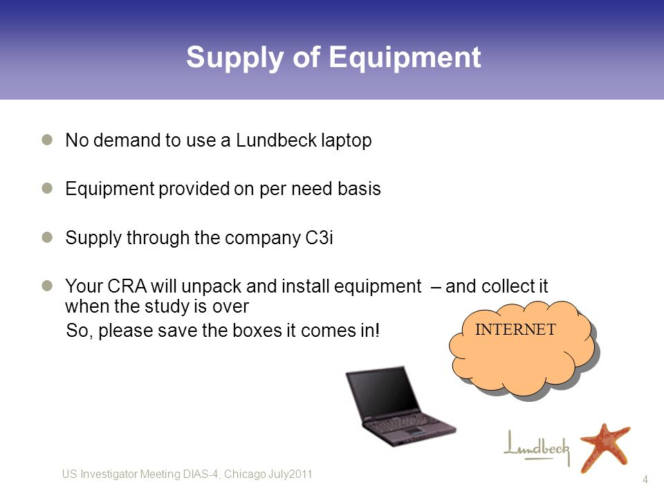 Supply of Equipment No demand to use a Lundbeck laptop