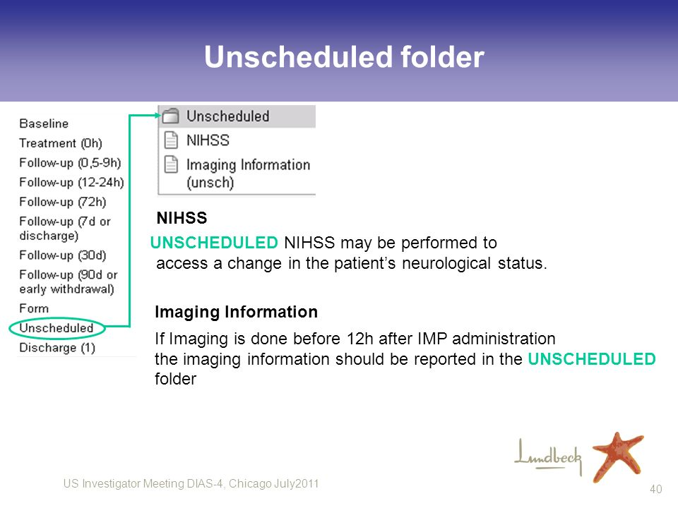 Unscheduled folder Imaging Information NIHSS