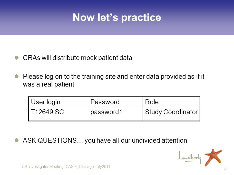 Now let's practice CRAs will distribute mock patient data