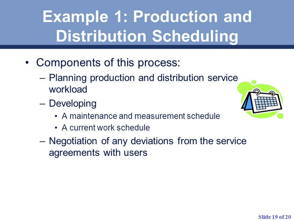 Example 1: Production and Distribution Scheduling