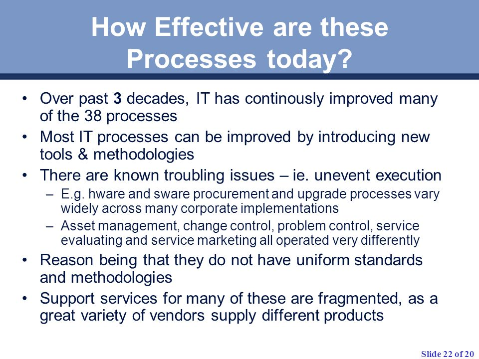 How Effective are these Processes today