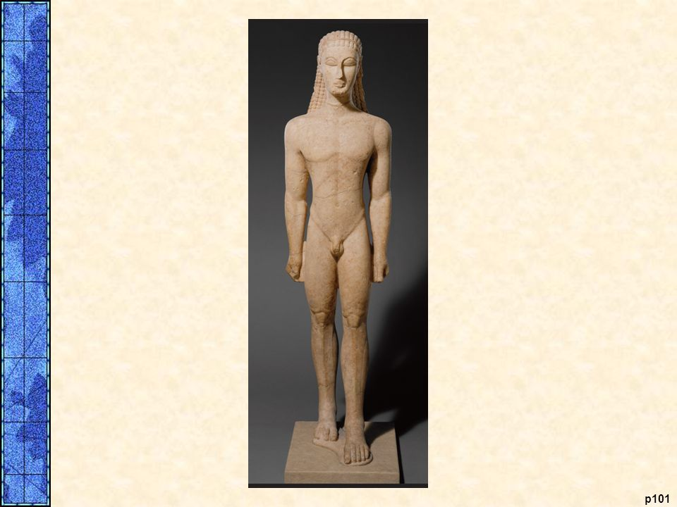 Kouros. On the left is a statue of a young male nude from around 600 B