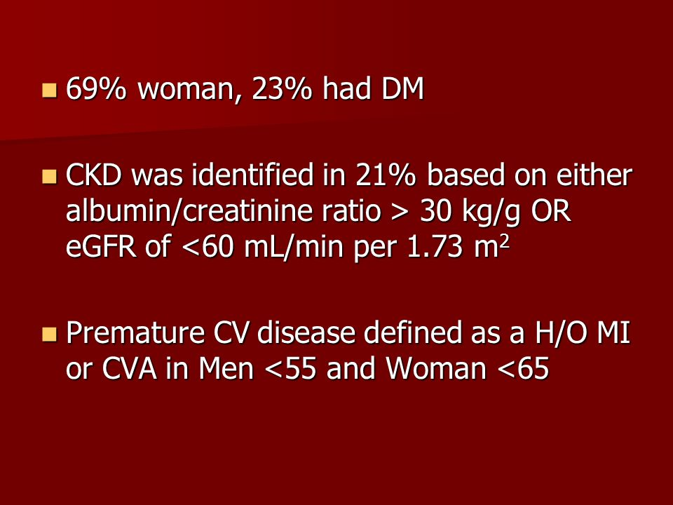69% woman, 23% had DM CKD was identified in 21% based on either albumin/creatinine ratio > 30 kg/g OR eGFR of <60 mL/min per 1.73 m2.