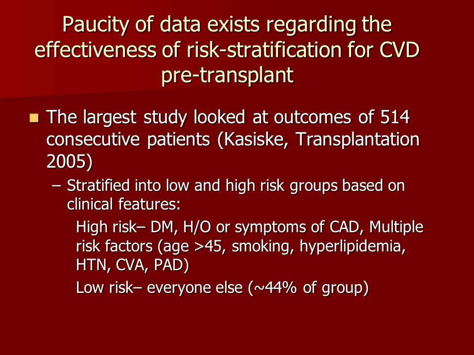 Paucity of data exists regarding the effectiveness of risk-stratification for CVD pre-transplant
