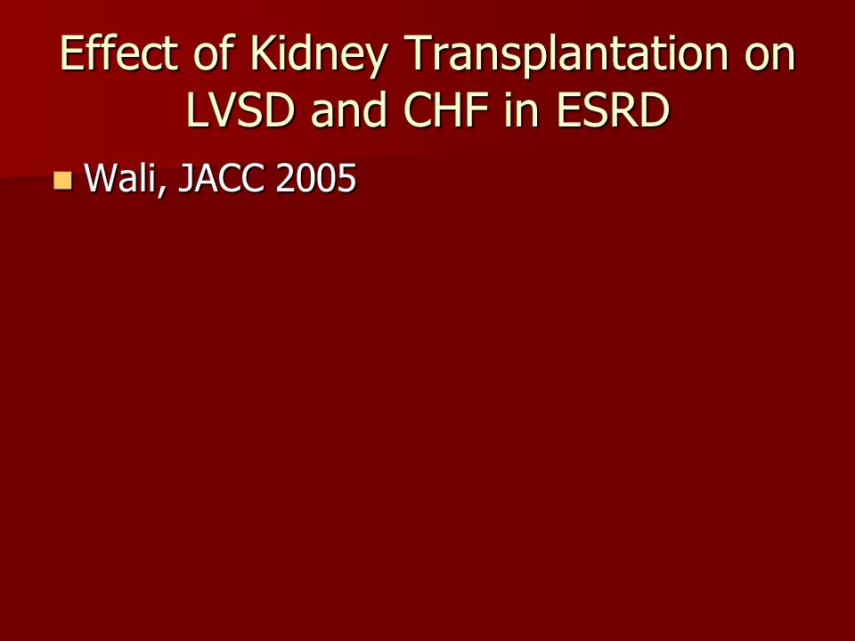Effect of Kidney Transplantation on LVSD and CHF in ESRD