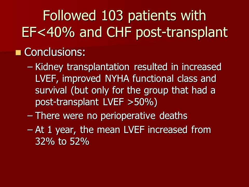 Followed 103 patients with EF<40% and CHF post-transplant