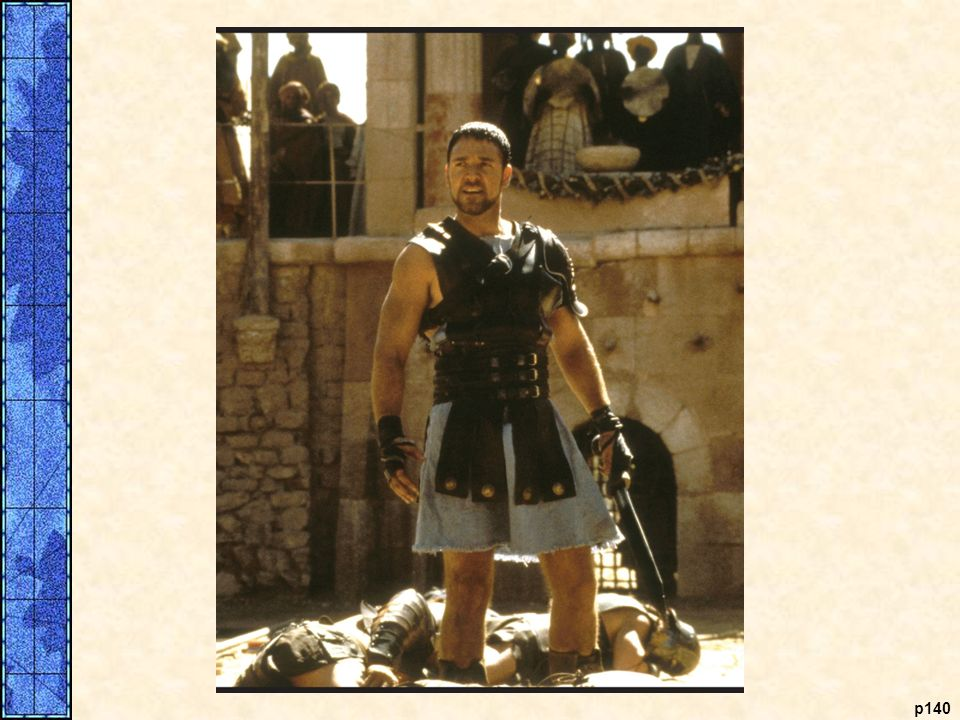 Maximus (Russell Crowe) triumphs in the Roman Colosseum.
