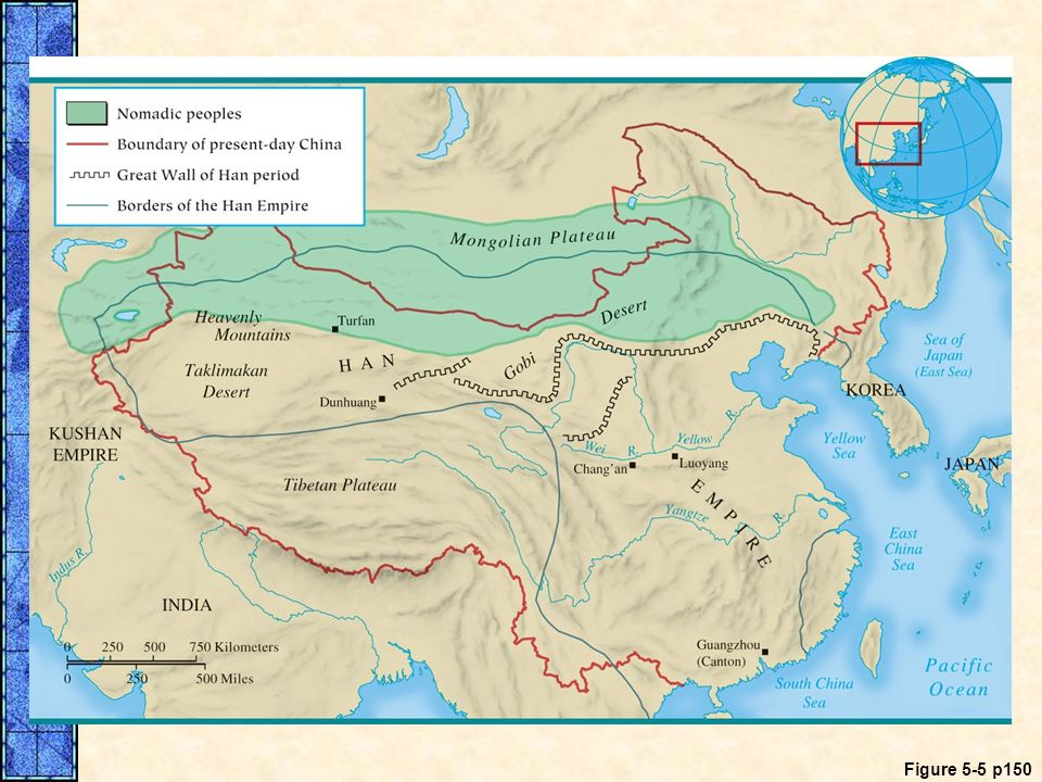MAP 5.5 The Han Empire. This map shows the territory under the control of the Han Empire at its greatest extent during the first century B.C.E. Note the Great Wall's placement relative to nomadic peoples.