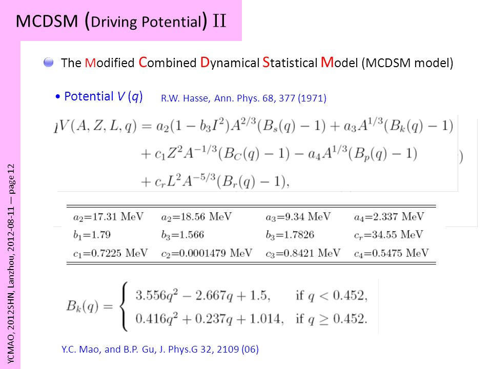 MCDSM (Driving Potential) II