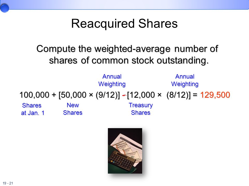 Reacquired Shares Compute the weighted-average number of shares of common stock outstanding. Annual.