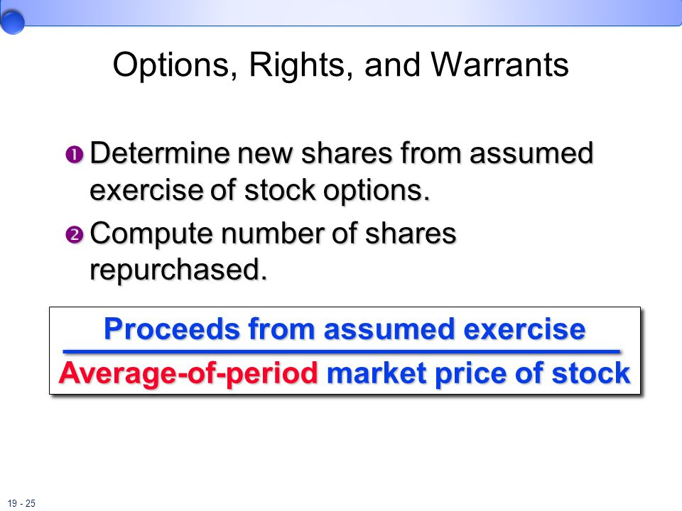 Options, Rights, and Warrants