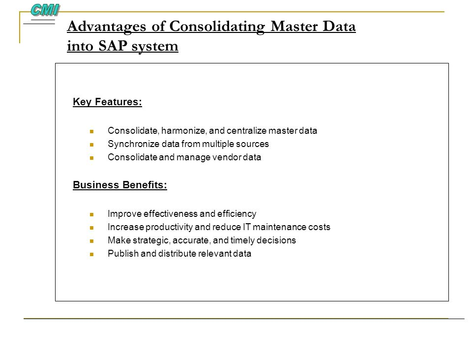 Advantages of Consolidating Master Data into SAP system