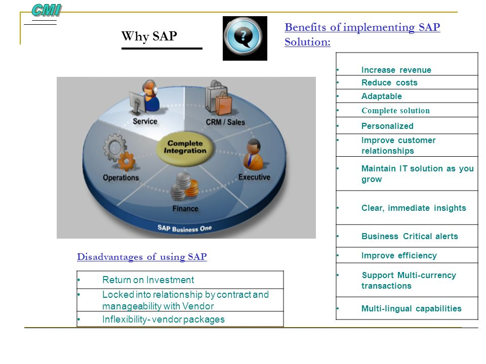 Benefits of implementing SAP Solution: