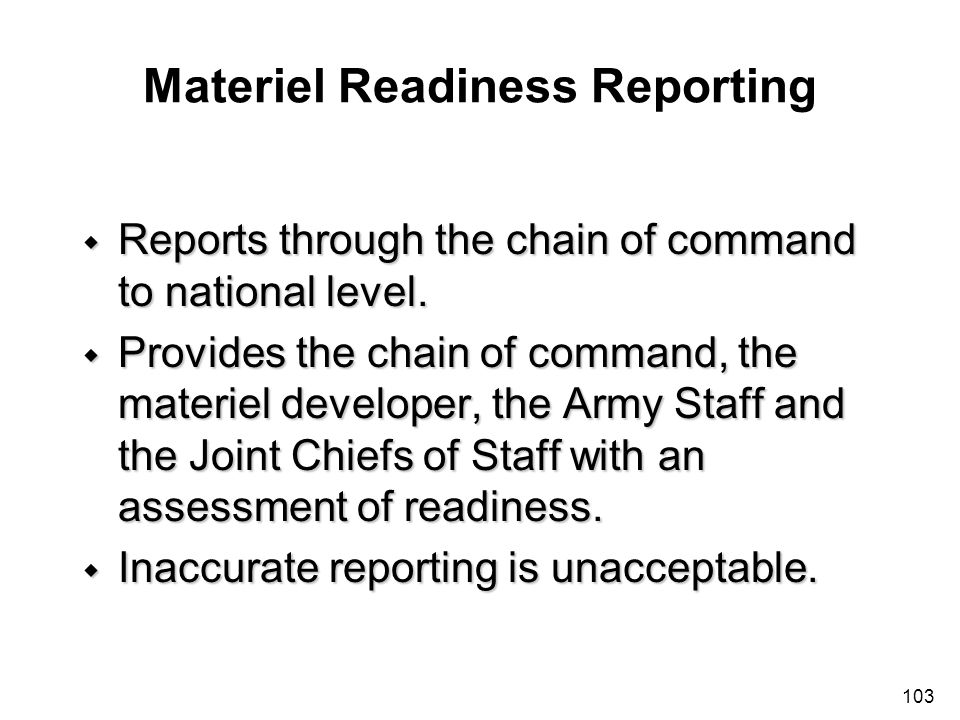 Materiel Readiness Reporting