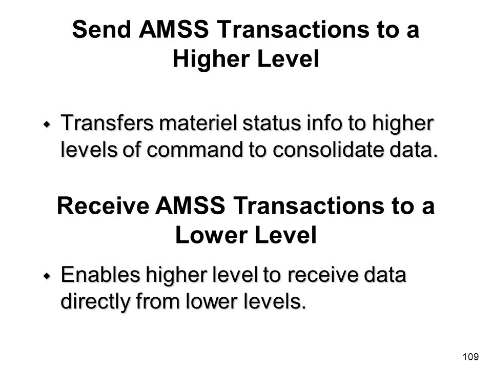 Send AMSS Transactions to a Higher Level