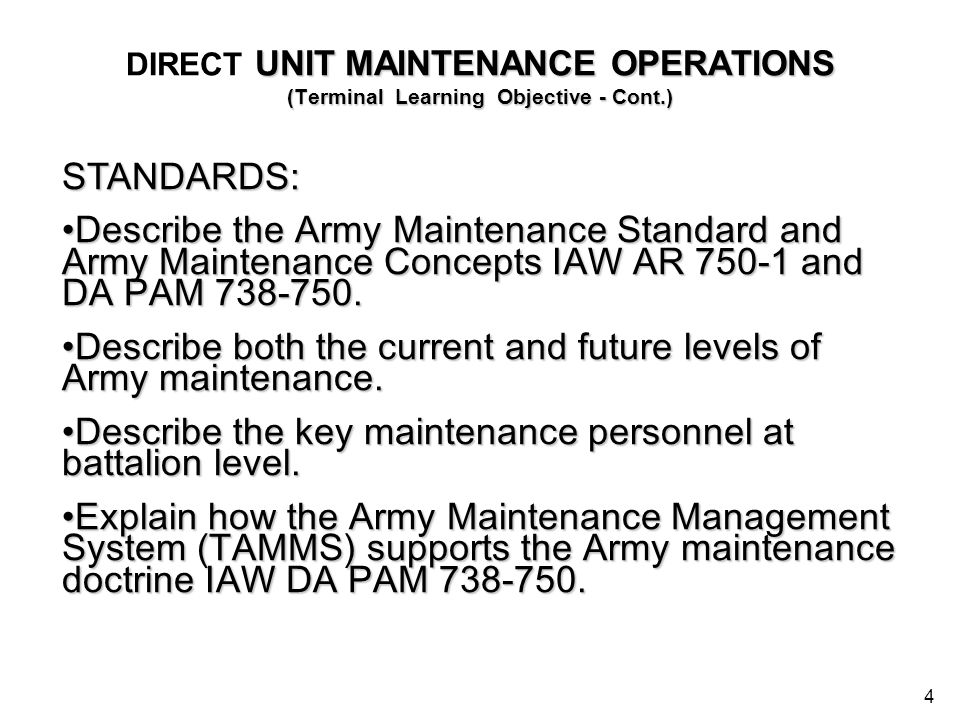 Describe both the current and future levels of Army maintenance.
