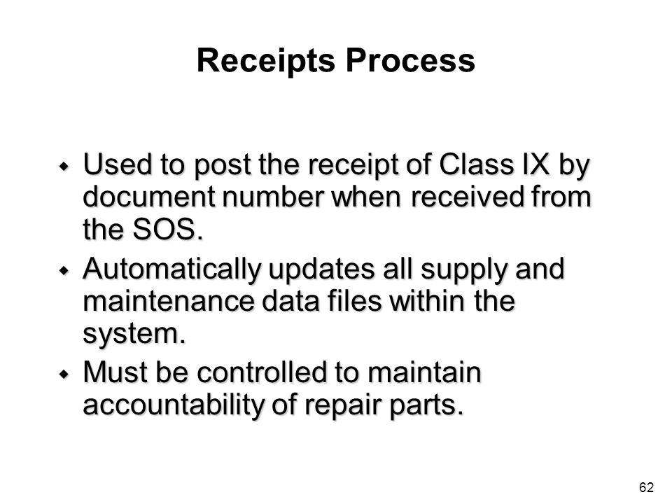 Receipts Process Used to post the receipt of Class IX by document number when received from the SOS.