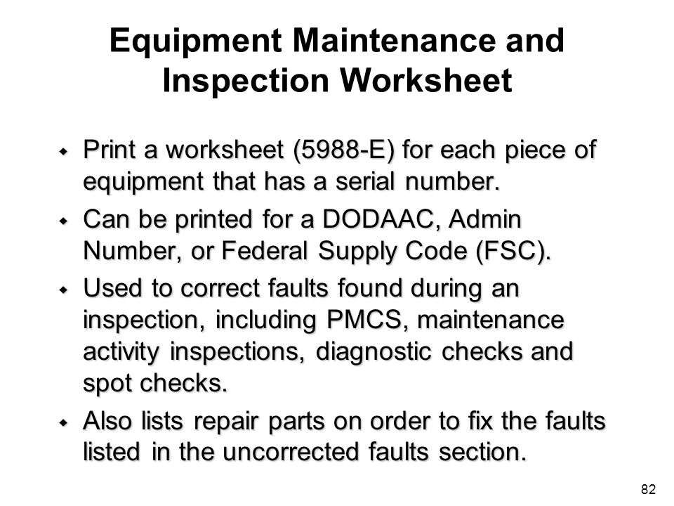 Equipment Maintenance and Inspection Worksheet