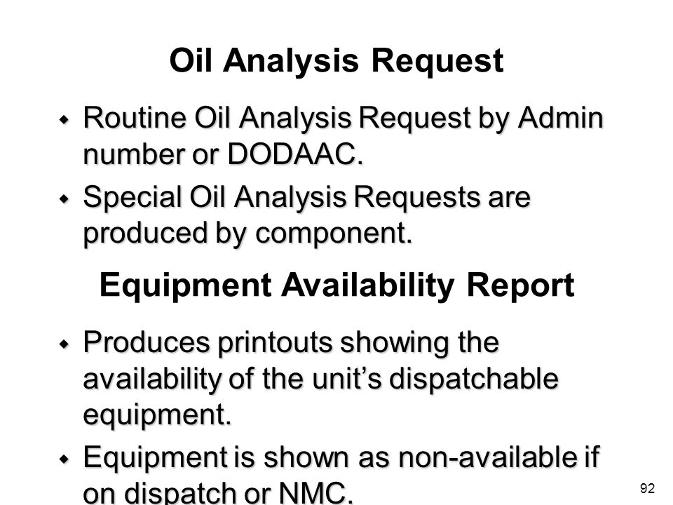 Equipment Availability Report