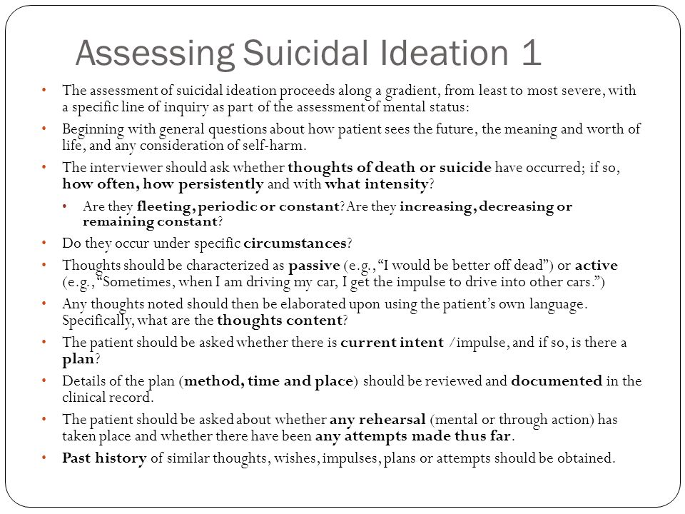 Assessing Suicidal Ideation 1