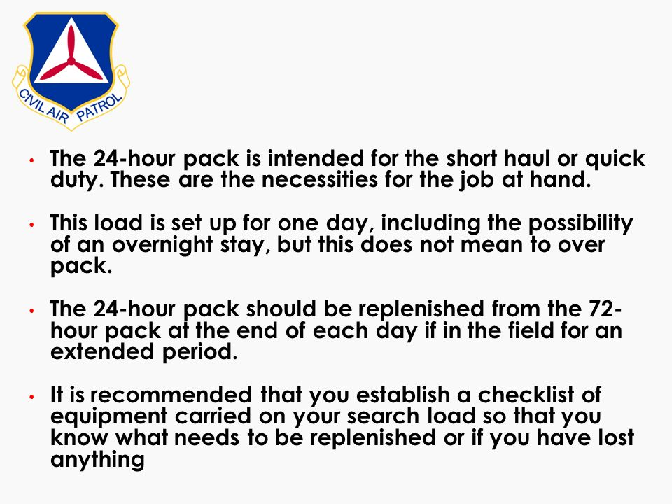 The 24-hour pack is intended for the short haul or quick duty