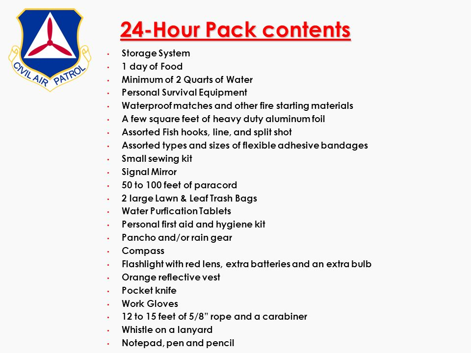 24-Hour Pack contents Storage System 1 day of Food