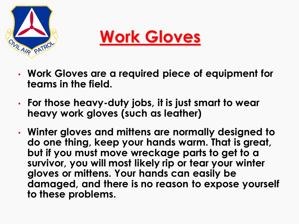 Work Gloves Work Gloves are a required piece of equipment for teams in the field.