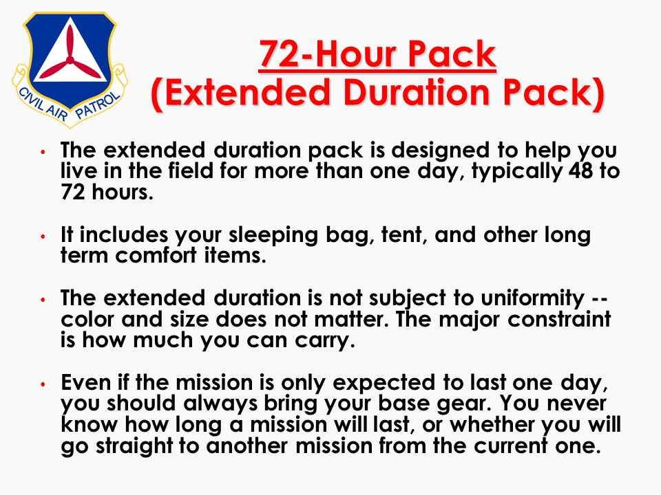 72-Hour Pack (Extended Duration Pack)