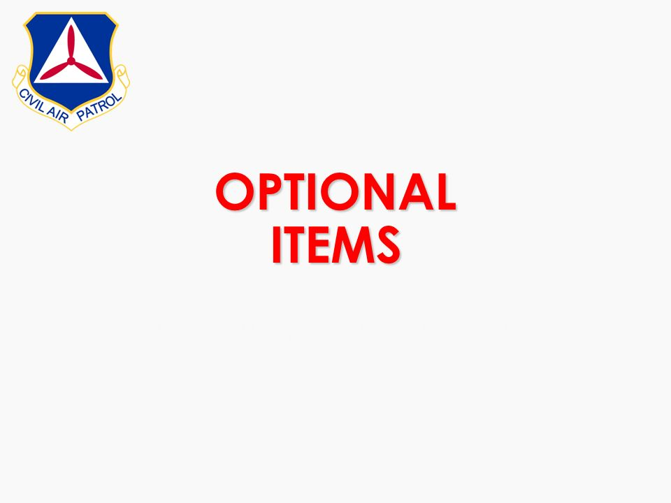 OPTIONAL ITEMS