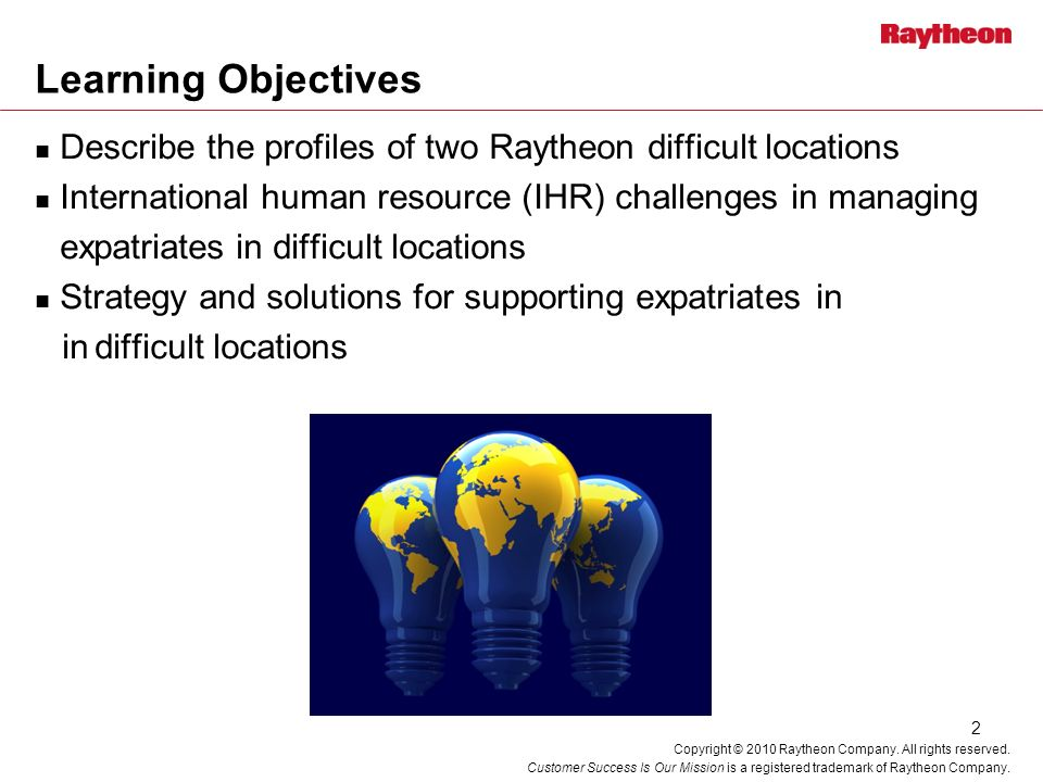 Learning Objectives Describe the profiles of two Raytheon difficult locations. International human resource (IHR) challenges in managing.