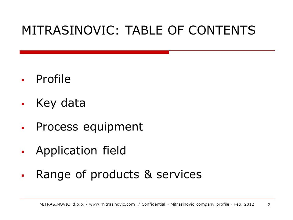 MITRASINOVIC: TABLE OF CONTENTS