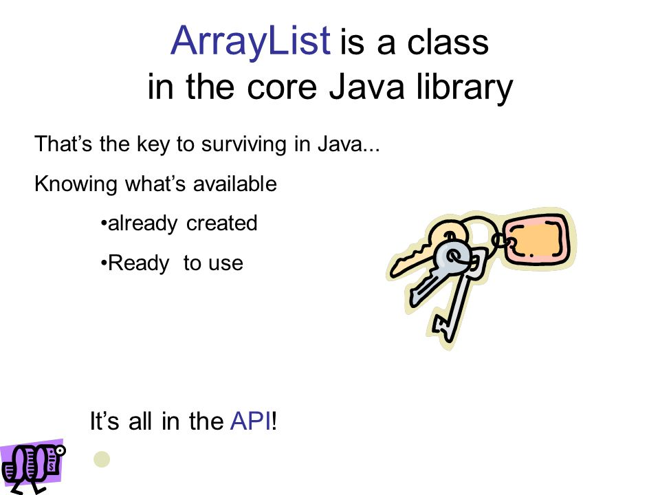 ArrayList is a class in the core Java library