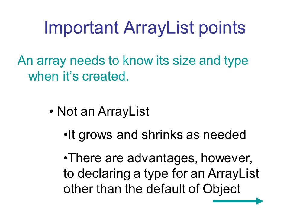 Important ArrayList points