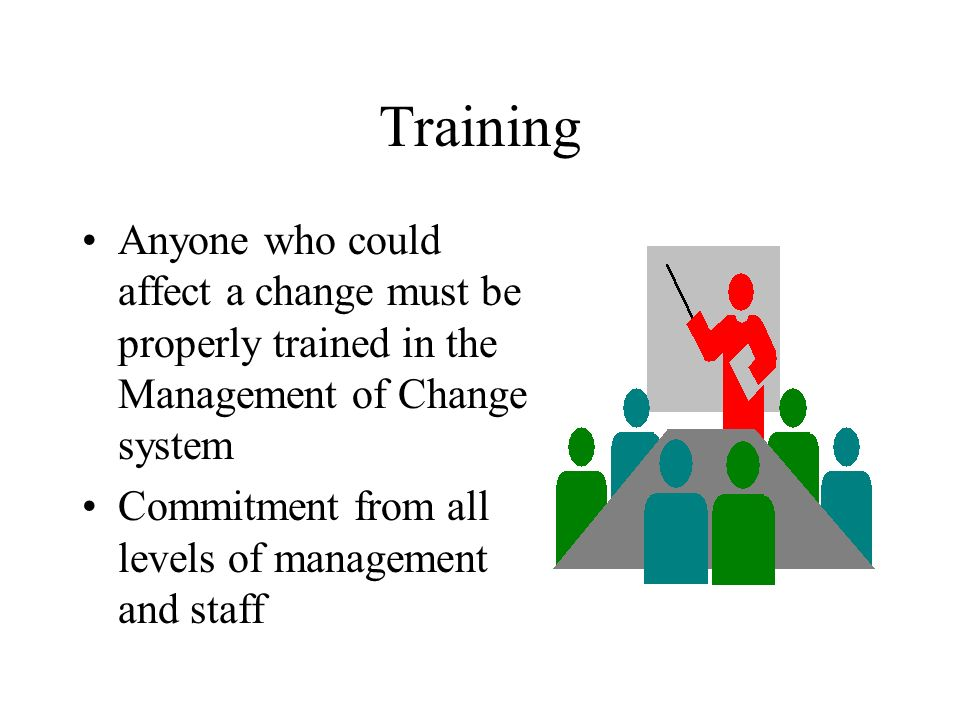 Training Anyone who could affect a change must be properly trained in the Management of Change system.