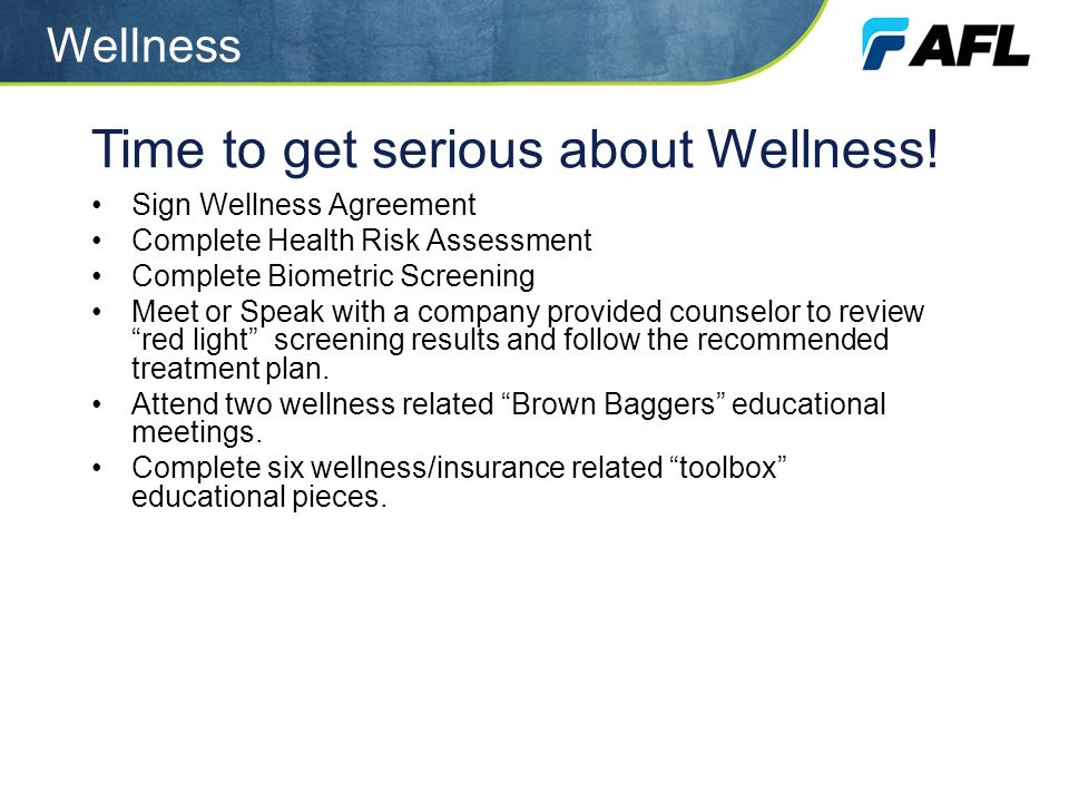 Time to get serious about Wellness!