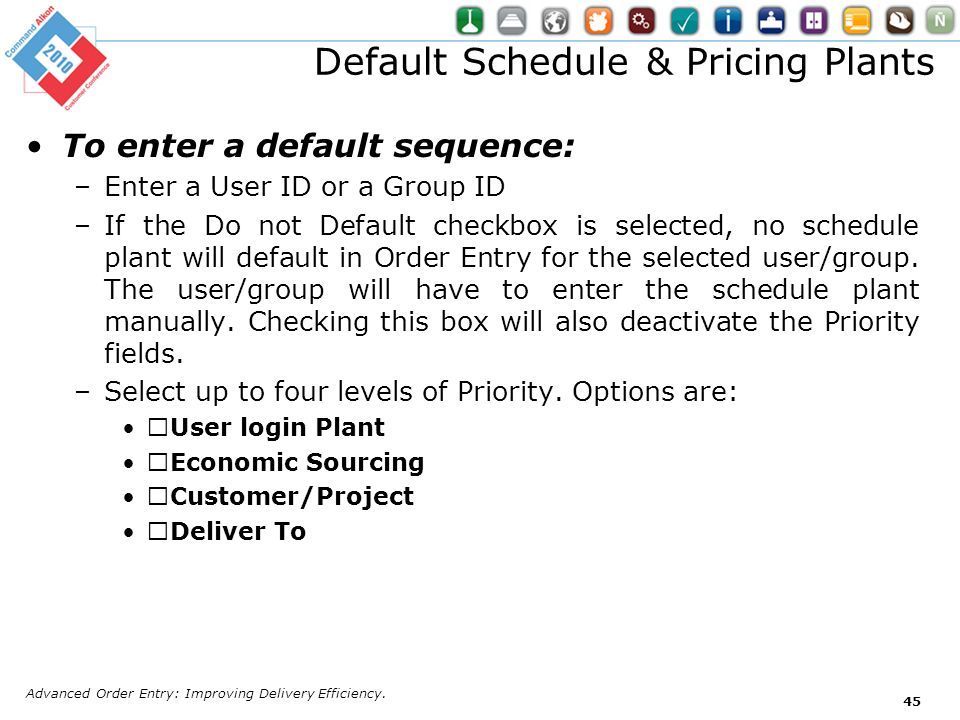Default Schedule & Pricing Plants