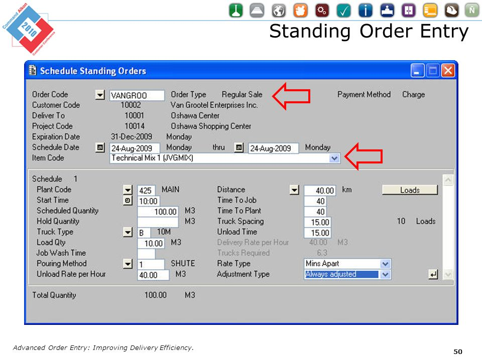 Standing Order Entry Advanced Order Entry: Improving Delivery Efficiency.
