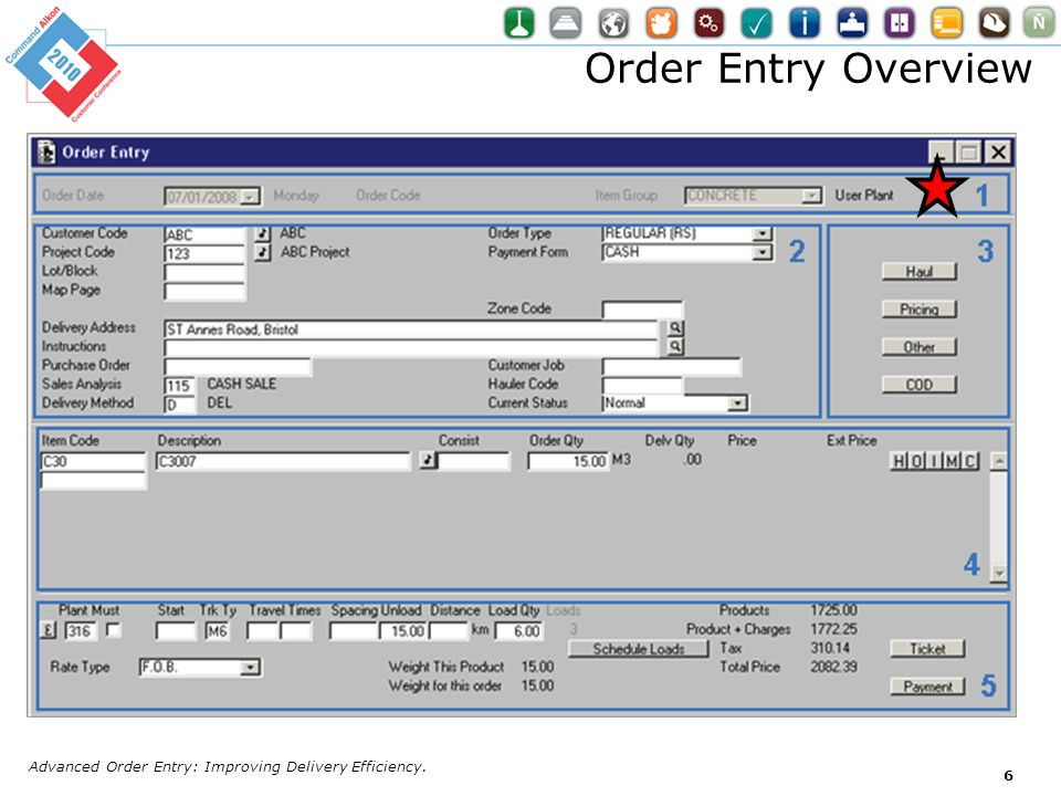 Order Entry Overview Advanced Order Entry: Improving Delivery Efficiency.