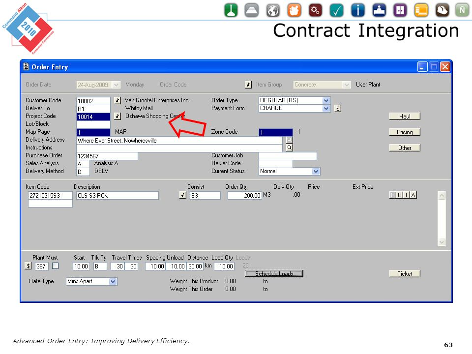 Contract Integration Advanced Order Entry: Improving Delivery Efficiency.