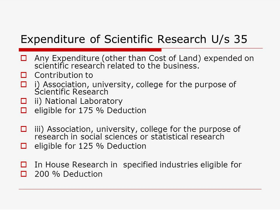 Expenditure of Scientific Research U/s 35
