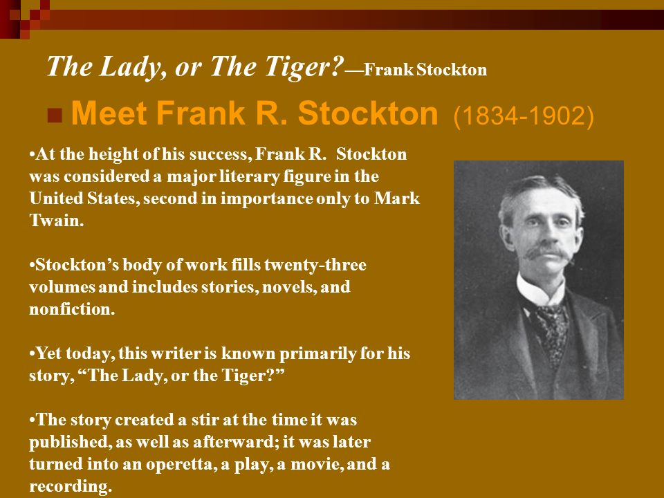 the lady and the tiger by frank stockton