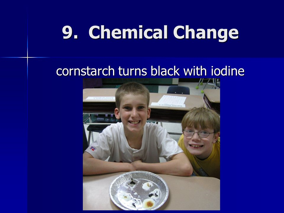 cornstarch turns black with iodine