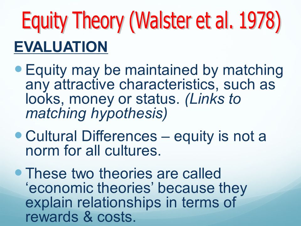 Equity Theory (Walster et al. 1978)