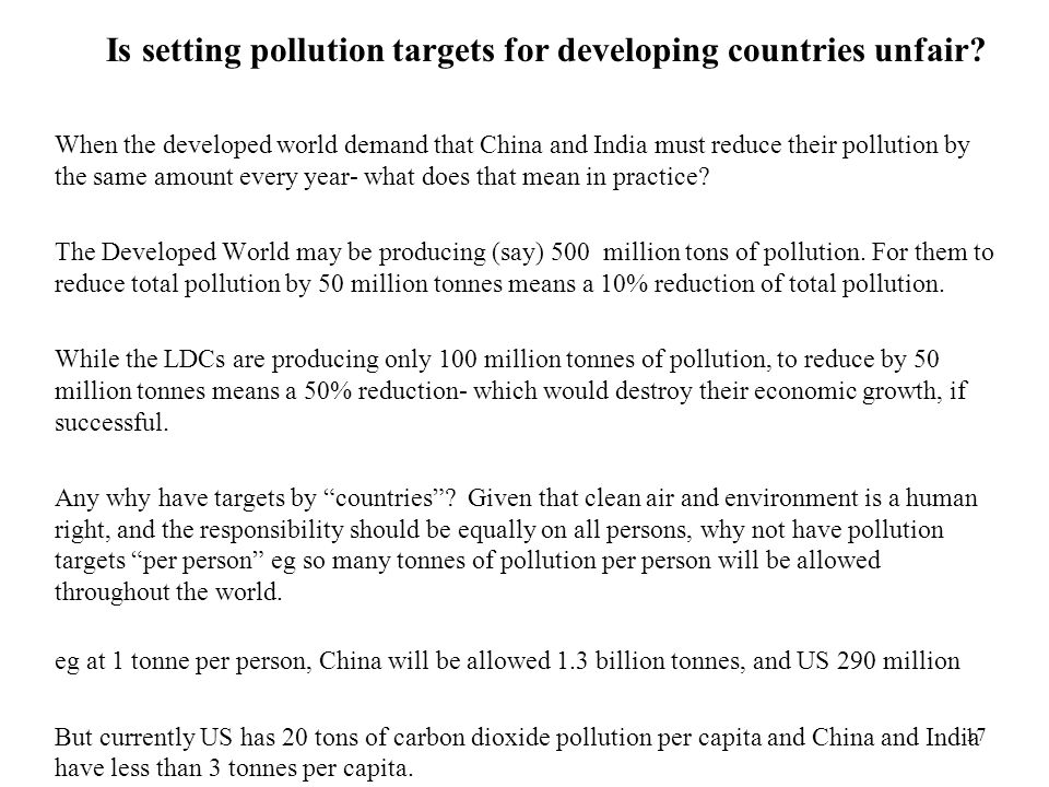 Is setting pollution targets for developing countries unfair
